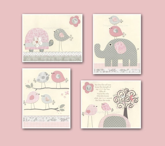 Baby girl art nursery wall art baby girl room decor nursery for Baby nursery wall decoration