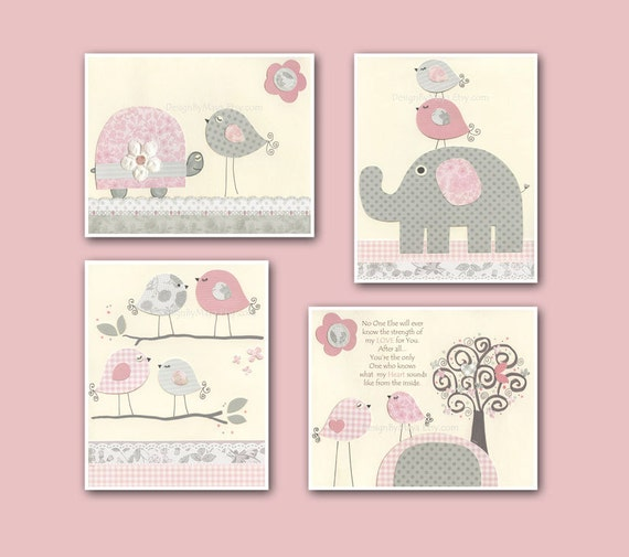 Baby girl art nursery wall art baby girl room decor nursery for Baby wall decoration ideas