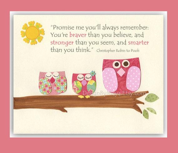 Nursery wall art, Baby girl room decor, Owls, kids wall art nursery decor, Promise me, match Catalina bedding set, bright pink light pink