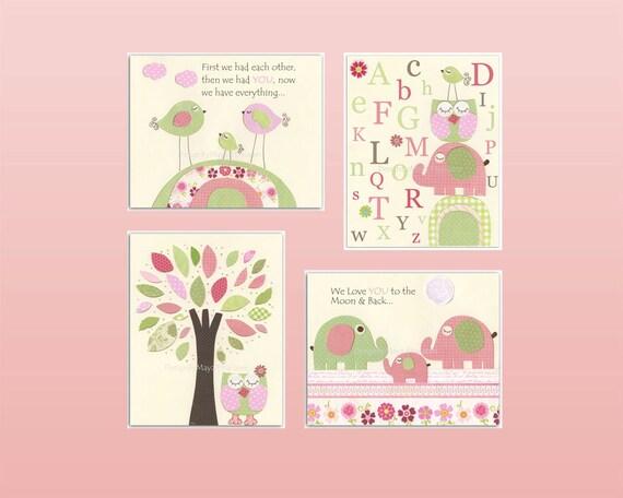 Baby girl Nursery wall art print Baby room decor Love birds Turtle Elephant set of 4 prints match to Hayley bedding Nursery tree Pink Green