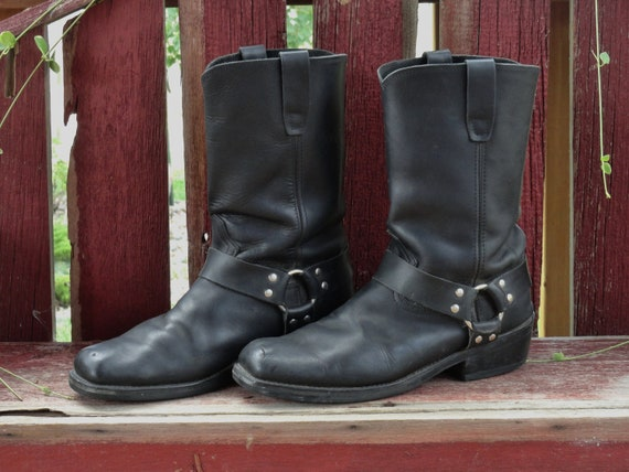 SALE - Vintage Durango Black Leather Motorcycle Boots -  Harness Strap - 90s -  US Mens 11D - US Womens 13D  Priority Shipping