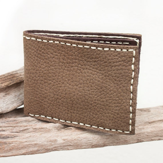 Hand Sewn Leather Men's Wallet in Brown