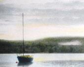 Sailboat Art Print Sails Down Sunset Ocean Wall Hanging - Treasury