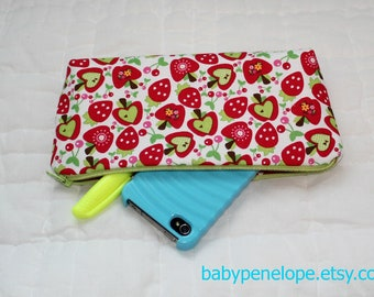 Clearance*** Pencil Case/Cosmetic Bag/ Gadget Case - Riley Blake Hoo's in the Forest Strawberry Apples - Ready to Ship