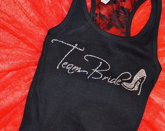 8 bridesmaid rhinestone tank tops . Set of 8 bridal party shirt . Bridesmaid lace tanks with high heel shoe.  Maid of honor, matron,  mother