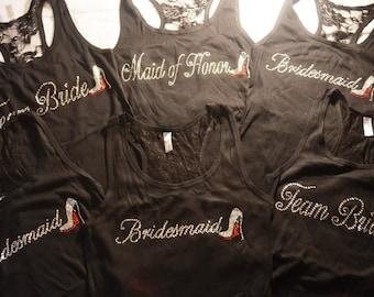 Bridesmaid Shirts Set of 6 . Bridesmaid Rhinestone Shirts with Red Bottom Stiletto shoe . Bachelorette Party t-shirts . Bridesmaid Gifts