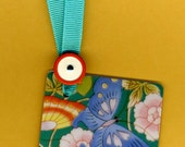 BEAUTY CONTEST Bookmark Handmade from Playing Card & Vintage Button with Grosgrain Ribbon