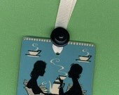 Handmade Bookmark TEA FOR TWO from Vintage Playing Card & Button with Grosgrain Ribbon