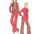Plaid Shirt Pattern/ Flared Pants Pattern /Vintage 1970s UNCUT Simplicity Button Front Shirt Jacket and Pants Sewing Pattern 5851/ Size 16