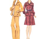 1970s Separates Vintage Pattern - UNCUT and FF Simplicity 6106 - Misses Shirt-Jacket, Skirt or Pants Sewing Pattern/ Size 14