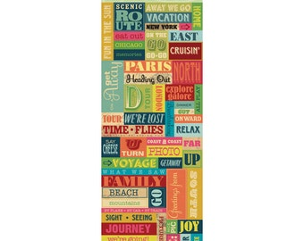 """Par Avion Stickers Words and Icons by K&Company 4.5""""x12"""""""