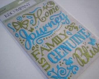 GLITTER Jubilee Words Stickers by K&Company 69 pcs