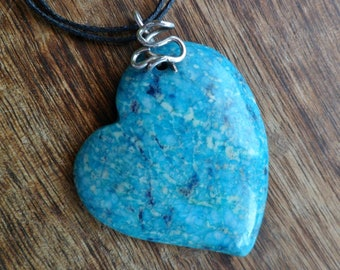 Blue Jasper Heart Necklace. Handmade. Jasper Pendant. Mineral. Stone. Heart Jewelry