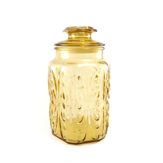 Vintage glass apothecary jar - canister amber, gold, yellow