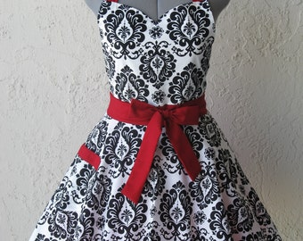 Sweetheart Hostess Apron - Black Damask with a hint of Red - Full of Twirl Flounce