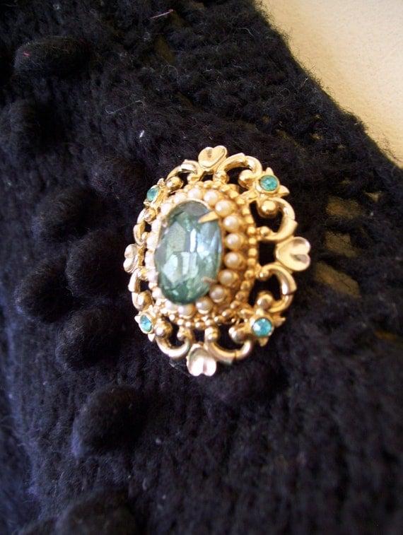 pretty aquamarine - colored vintage seed pearl brooch