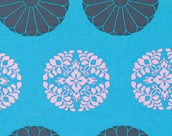Amy Butler Fabric Cameo Pressed Flowers in Sky - 1 Yard