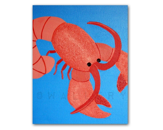 Lobster Print for baby / Child nursery. 8x10 modern sea creatures print from canvas painting for kids rooms and playrooms and bathrooms
