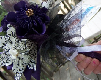 Black and Deep Purple Paper Flower Bouquet Includes 8 Origami Flowers Plus Decor