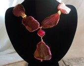 The Dressy Chick Blog Magenta Agate Slab Statement Necklace with Fuchsia Chalcedony Connector Adventurine