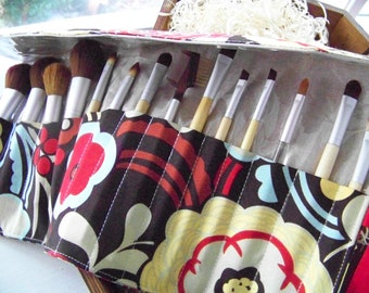 "Deluxe Makeup Brush Roll-up ""Mocca Red"" Many Fabrics Available"