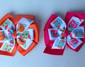 Owl Layered Hair Bow - Magenta or Orange Bow with Owls - Etsykids Team