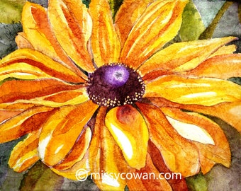 BLACK EYED SUSAN - Original Watercolor Painting