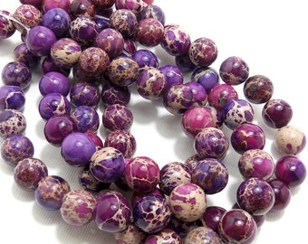 Impression Stone, Purple, Round, Smooth, Gemstone Beads, 12mm, Large, Full Strand, 34pcs - ID 1237