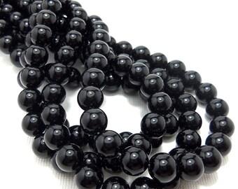 Black Onyx, High Quality, Gemstone Beads, Round, Smooth, 8mm, Small, 15 Inch Strand - ID 1153