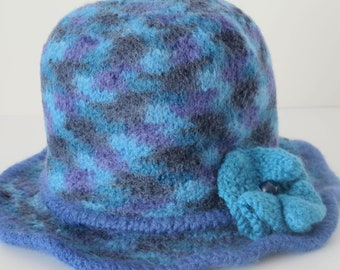 On sale - Little Girls Felted Wool Hat in Blue, Purple and Turquoise for Little Girls