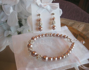 Swarovski Rhinestone and Champagne Smoke Pearl Bracelet and Earring Set - Bride or Bridesmaid Jewelry Set