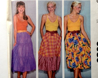 80s McCalls 6989 Tiered Ruffle Skirts with Pockets Make it Tonight Size Small 10 12