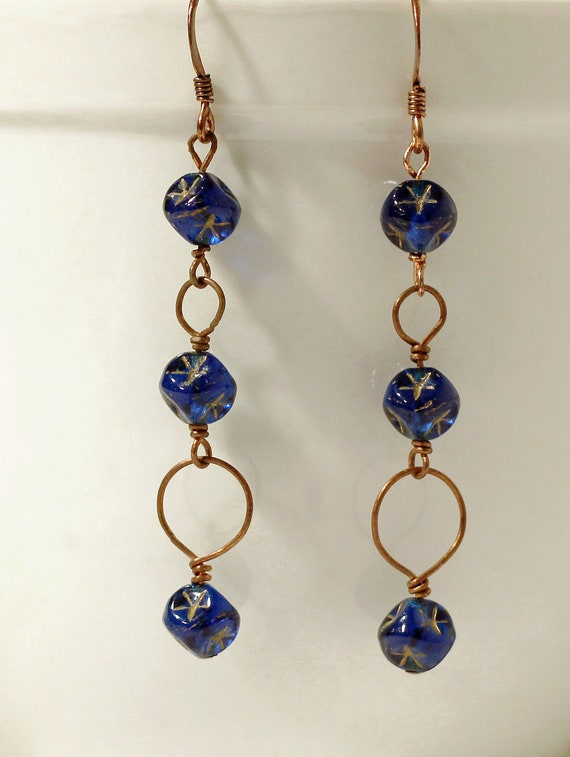 SALE  Dark blue star earrings, copper stars and circles, by Littletreeofjewels