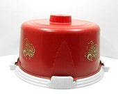 Vintage Bold Red Cake Carrier / Cover