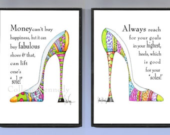 Original illustrated shoe art prints framed and sold as a pair