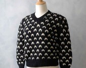 Reserved for Mercedes - Vintage Nordic Style Women's Sweater - Black White Scandinavian Design