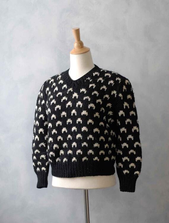 Reserved for Mercedes - Vintage Nordic Style Women's Sweater - Black White Scandinavian Design