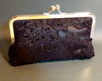Black Cabbage Rose Lace Overlay on Black with Pearls Holiday Christmas New Year's Bridal Clutch Eve