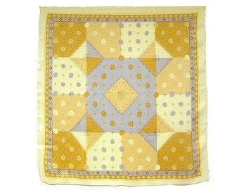 Streissnig Silk Scarf, 34 in. sq. Subtle Geometric Design in Cream, Golds, Blue Greys, Labeled, Excellent Condition