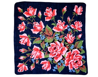 RETRO HANKIE, Mid-Century, Giant Pink Rose & Red Bouquet on Deep Navy, 22 Roses, Hand Rolled Hem, Graphic, Bold, Excellent Condition