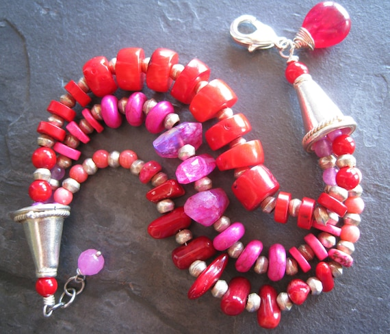 Red and Pink Multi Strand Beaded Bracelet, Red Coral Bracelet, Colorful Jewelry