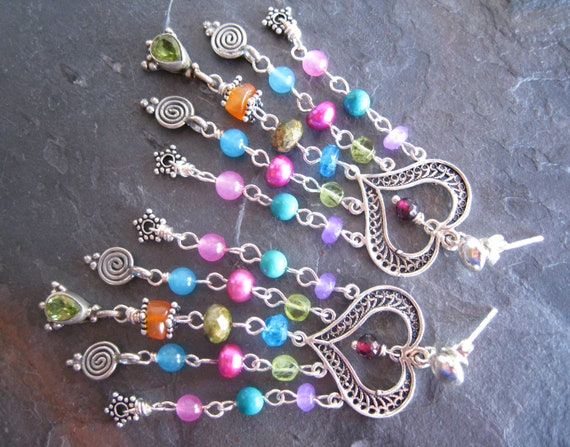 RESERVED Exotic Gypsy Chandelier Earrings, Romantic Colorful Bollywood Earrings, Gypsy Jewelry