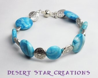 Turquoise Blue Crazy Lace Agate Gemstone Bracelet