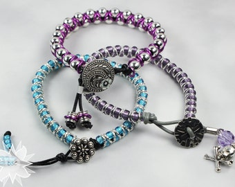 Beaded Cord Jumpring Bracelet with Button Clasp Color Choice - You Pick The Color