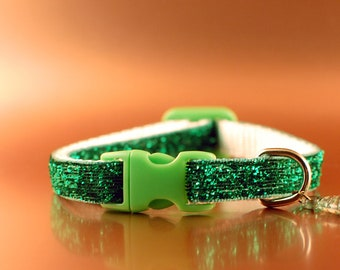 Green Glitter Breakaway Cat Collar wIth Fish Charm