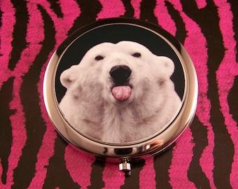 Compact Mirror Adorable Bratty Polar Bear Sticking Out His Tongue Kawaii Kitsch Unique