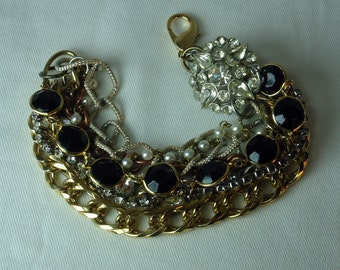 Vintage Bracelet, Assemblage,  Recycled . Eco friendly. Re-purposed . Chain Bracelet. Bridal.