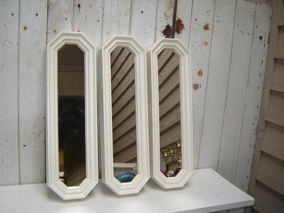 3 mirrors set of 3 creamy white 3 tall narrow mirrors for Tall skinny mirror