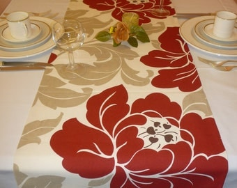 """Taupe Red Table Runner Funky Floral Retro Designer Cotton (54"""" 137cm)"""