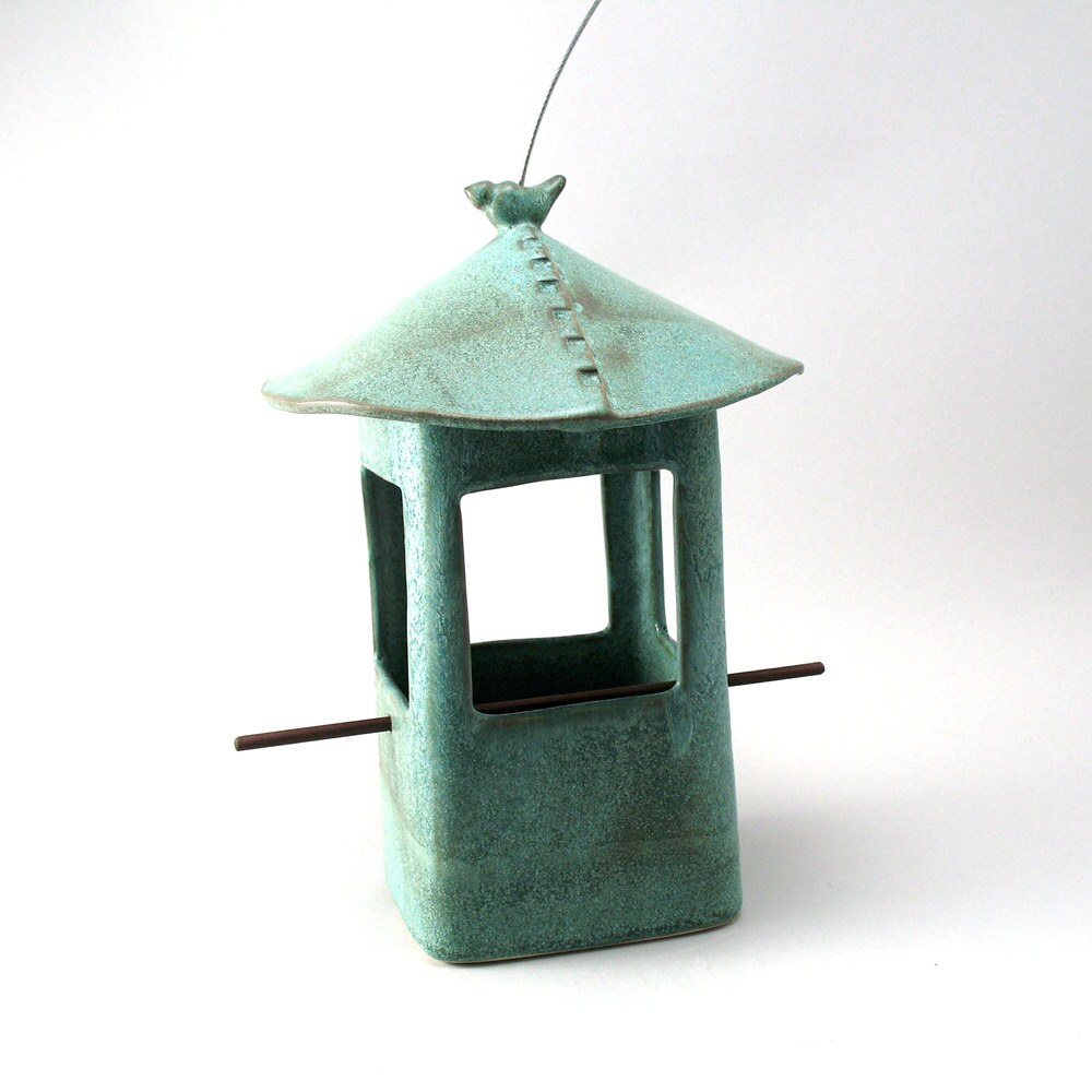 Bird Feeder Ceramic Bird Feeder Ceramic Bird Teal